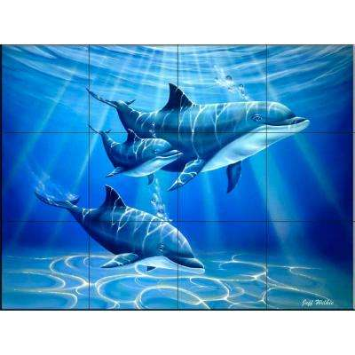 Dolphin Journey 17 in. x 12-3/4 in. Ceramic Mural Wall Tile