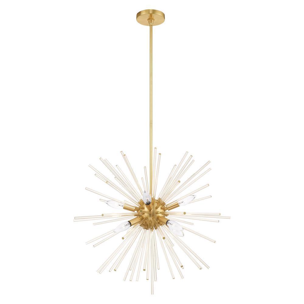 Livex Lighting Utopia 8-Light Satin Brass Starburst Pendant Chandelier with Clear Crystal Rods