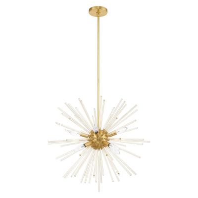 Utopia 8-Light Satin Brass Starburst Pendant Chandelier with Clear Crystal Rods