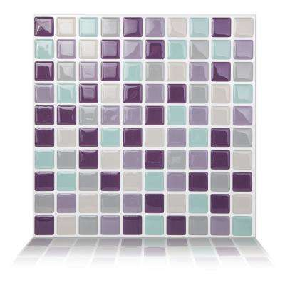 Mosaic Violetmint 10 in. W x 10 in. H Peel and Stick Self-Adhesive Decorative Mosaic Wall Tile Backsplash (5-Tiles)