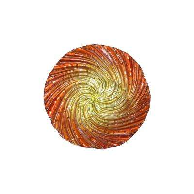 18 in. Orange Swirl Birdbath