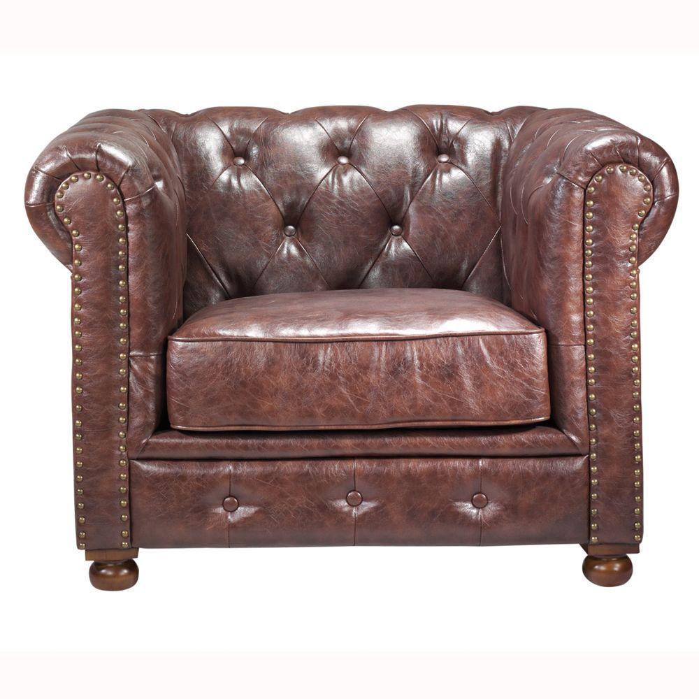 Gordon Brown Leather Arm Chair