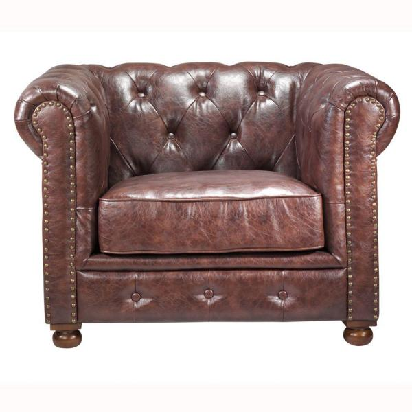 Home Decorators Collection Gordon Brown Leather Arm Chair 0849600760