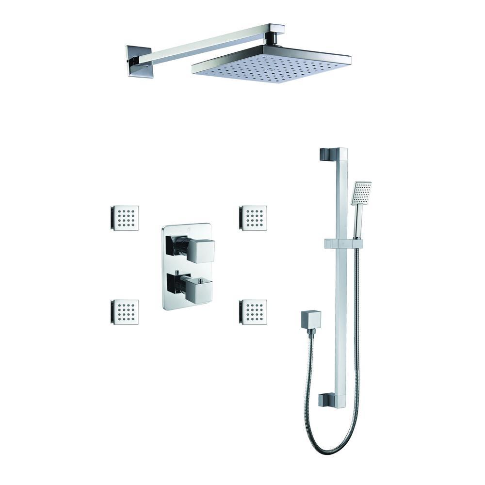 1-Spray Dual Showerhead and Handheld Showerhead with Body Sprays in Polished Chrome