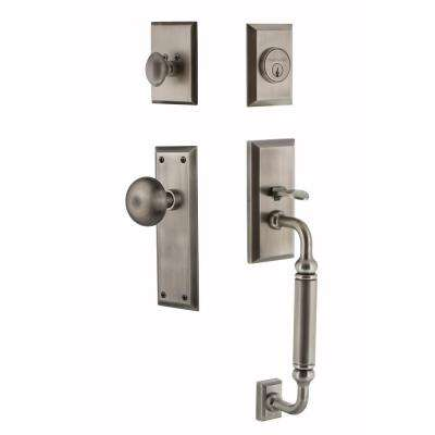 New York Plate 2-3/4 in. Backset Antique Pewter C Grip Keyed Entry Handleset with New York Knob