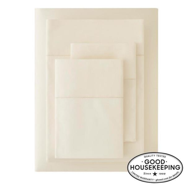 500 Thread Count Egyptian Cotton Sateen 4-Piece California King Sheet Set in Ivory