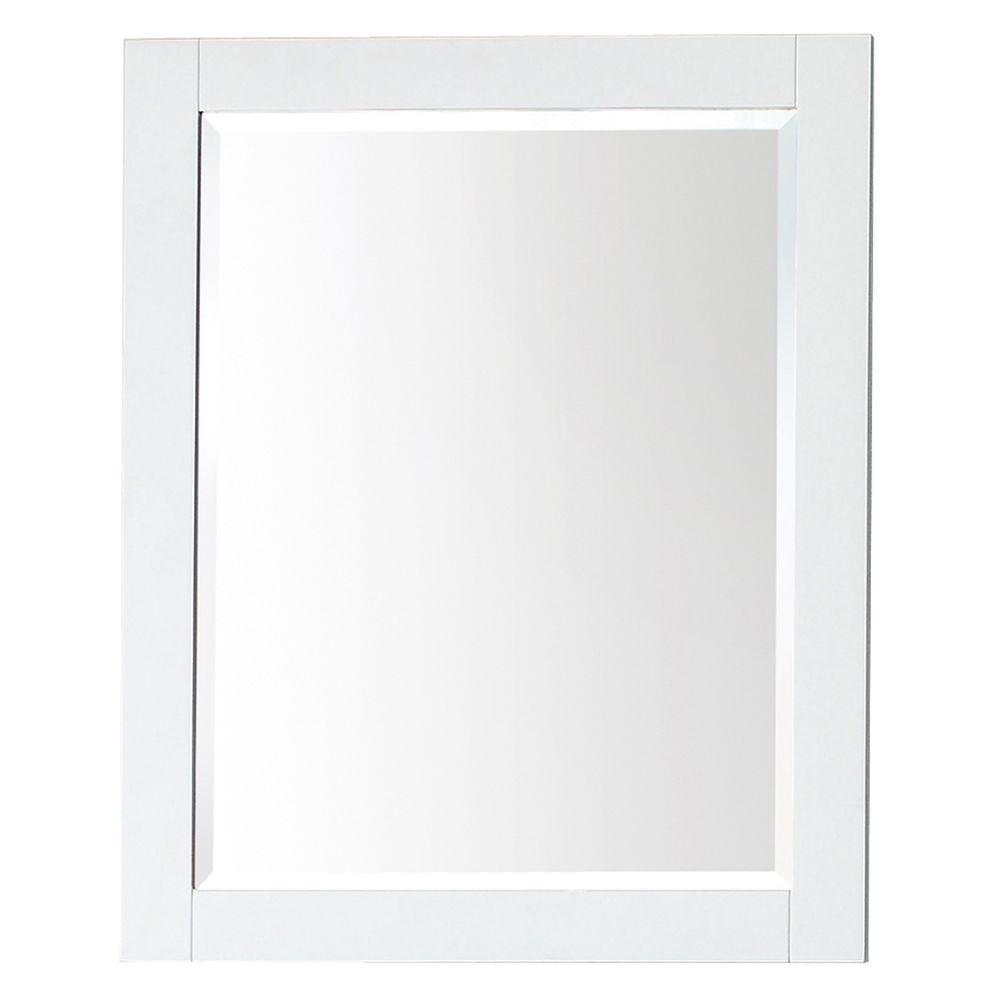 Transitional 24 in. W x 30 in. H Framed Rectangular Beveled Edge Bathroom Vanity Mirror in White