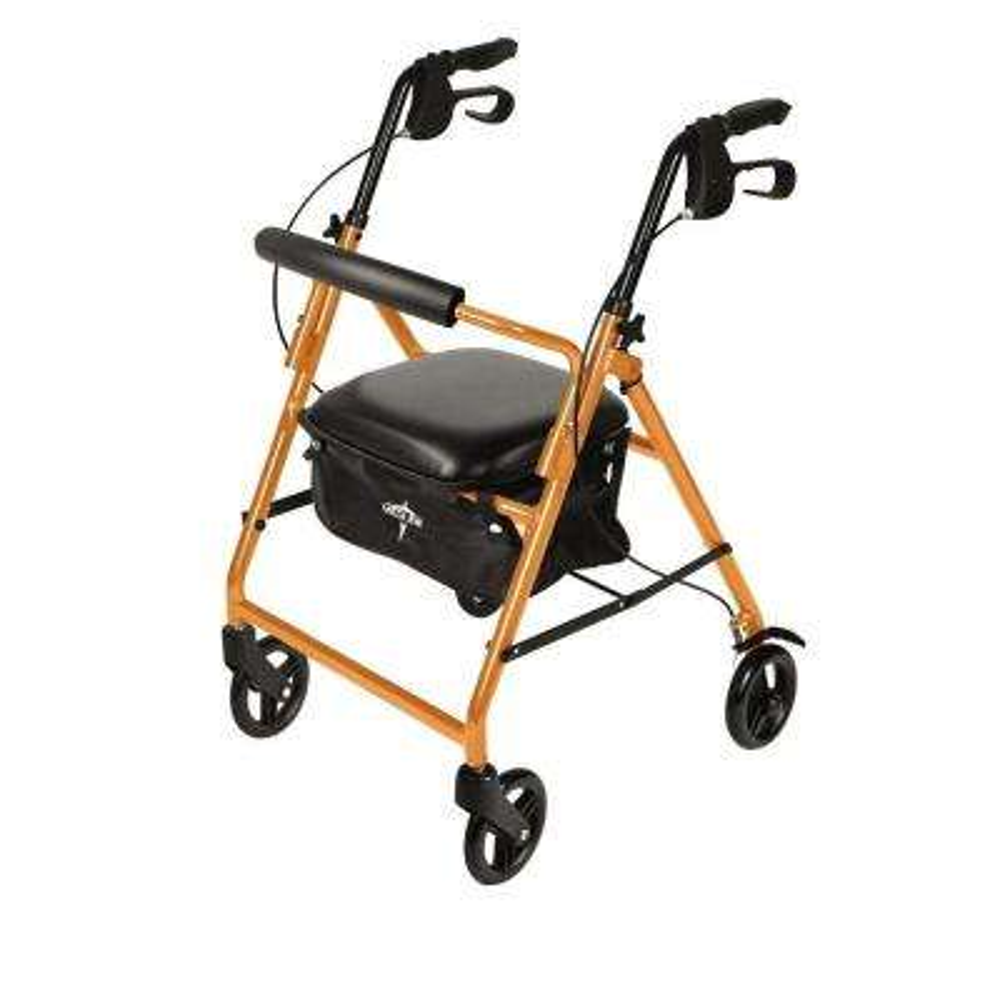 Aluminum Lightweight Folding 4-Wheel Rollator in Orange