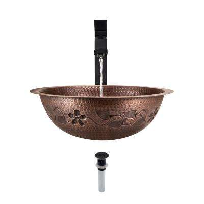 Tri-Mount Bathroom Sink in Copper with 721 Faucet and Grid Drain in Antique Bronze
