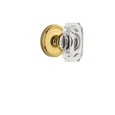 Georgetown Rosette Dummy with Baguette Crystal Polished Brass Door Knob