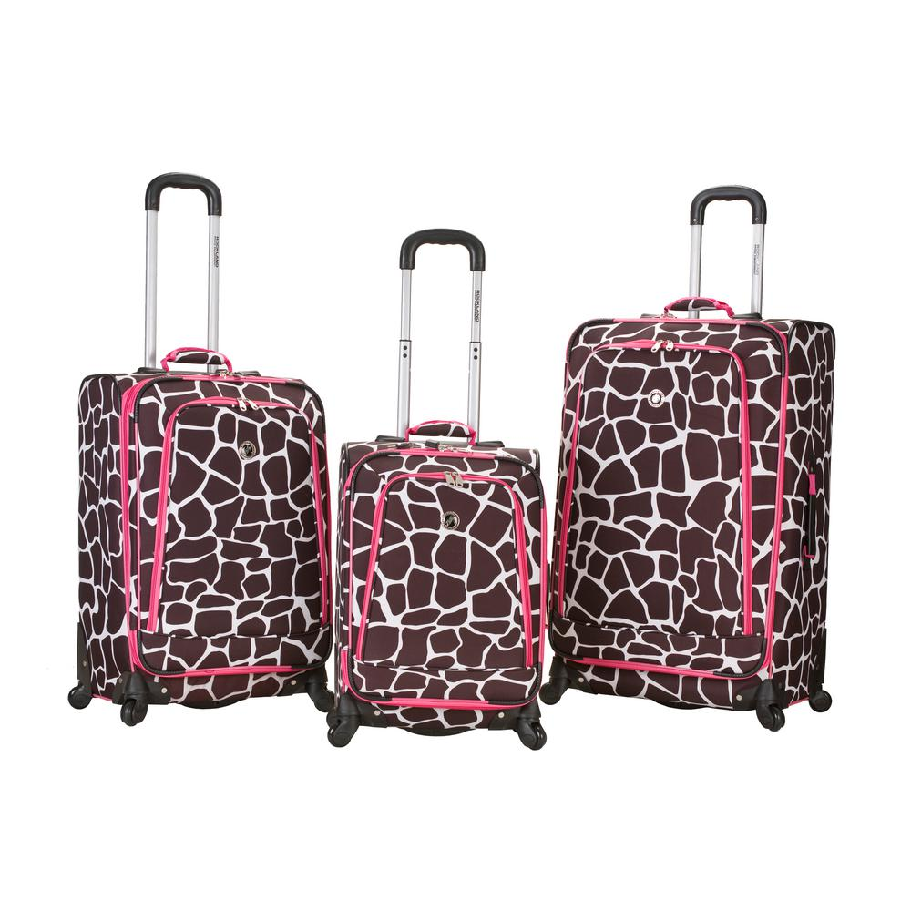 Rockland Fusion 3-Piece Luggage Set, Pinkgiraffe
