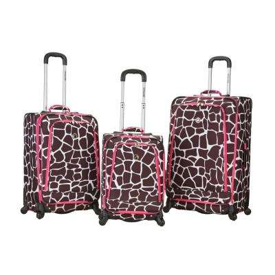 Rockalnd Expandable Fusion 3-Piece Softside Luggage Set, Pinkgiraffe
