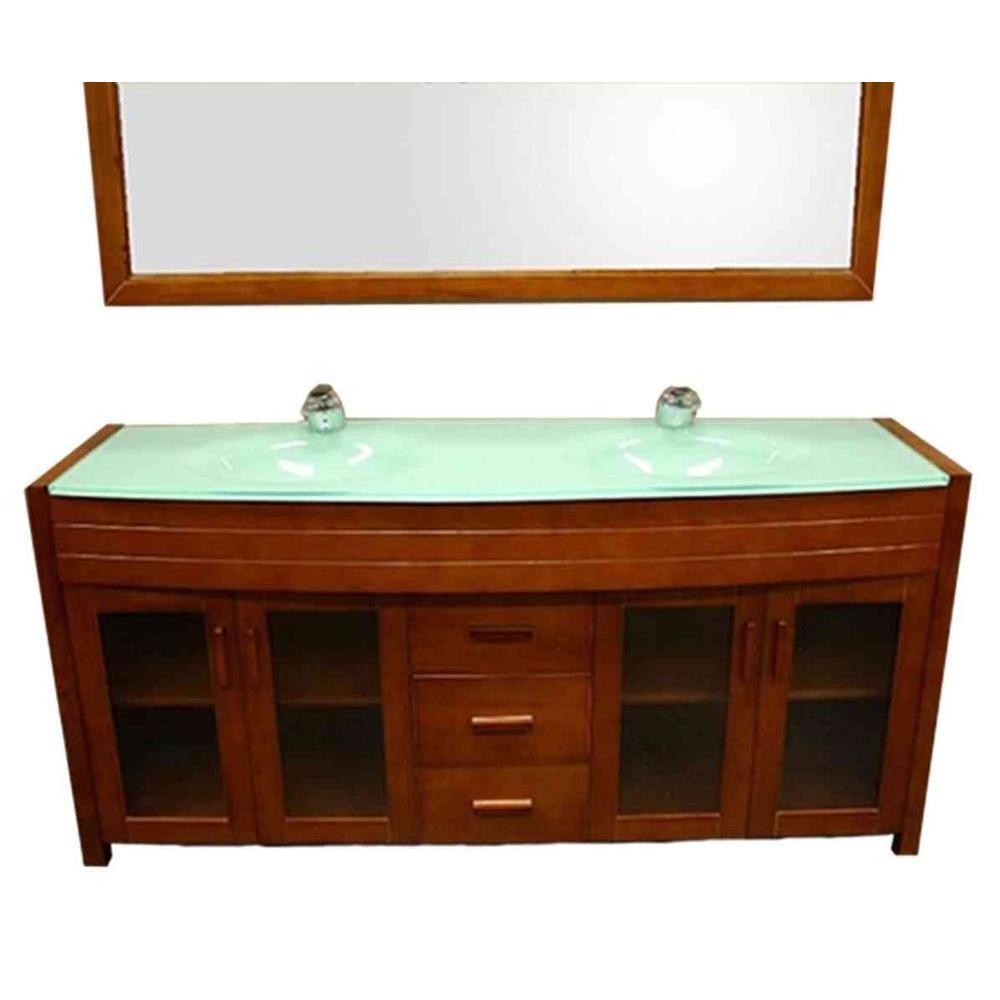 Design Element Waterfall 72 in. Vanity in Honey Oak with Glass Vanity Top and Mirror in Mint