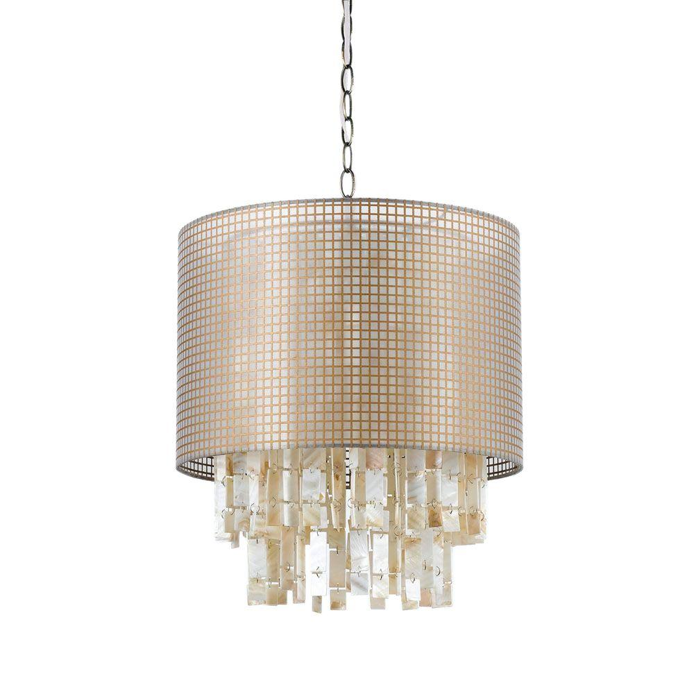 Af Lighting Lola 1 Light White Shell Pendant With Natural Color Gauze Shade