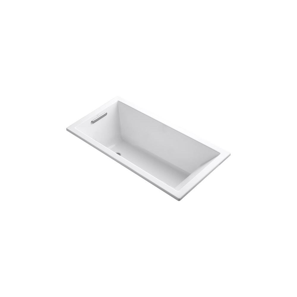 KOHLER Underscore 5 ft. Rectangle Left Drain Soaking Tub in White-K ...