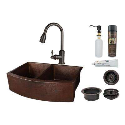 All-in-One Apron Front Copper 33 in. 50/50 Double Bowl Kitchen Rounded Apron Sink with Faucet in Oil Rubbed Bronze