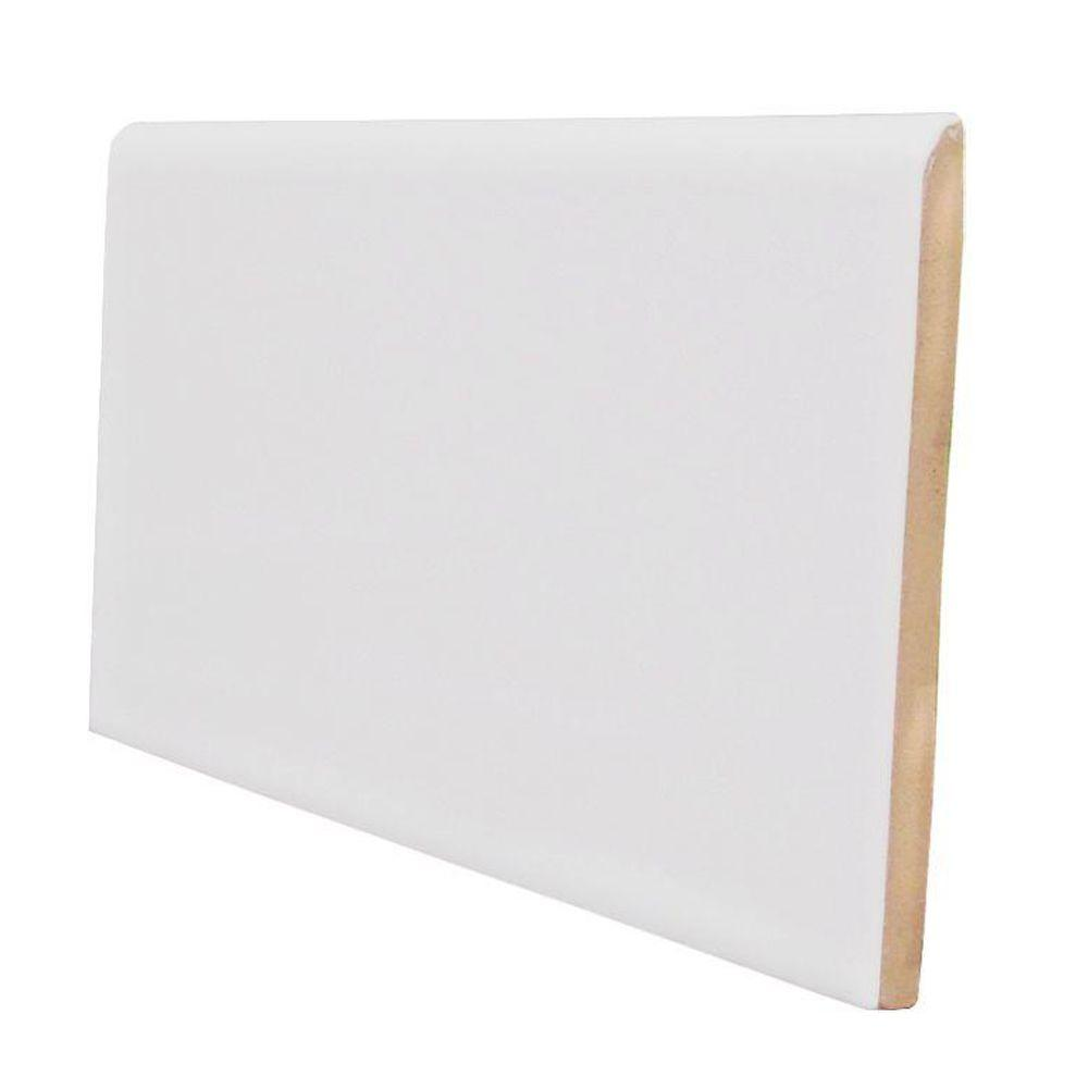 U.S. Ceramic Tile Color Collection Matte Tender Gray 3 in. x 6 in. Ceramic Surface Bullnose Wall Tile-DISCONTINUED