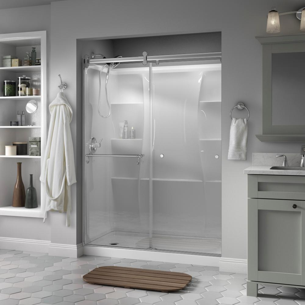 Fine Delta Portman 60 X 71 In Frameless Contemporary Sliding Shower Door In Chrome With Clear Glass Download Free Architecture Designs Scobabritishbridgeorg