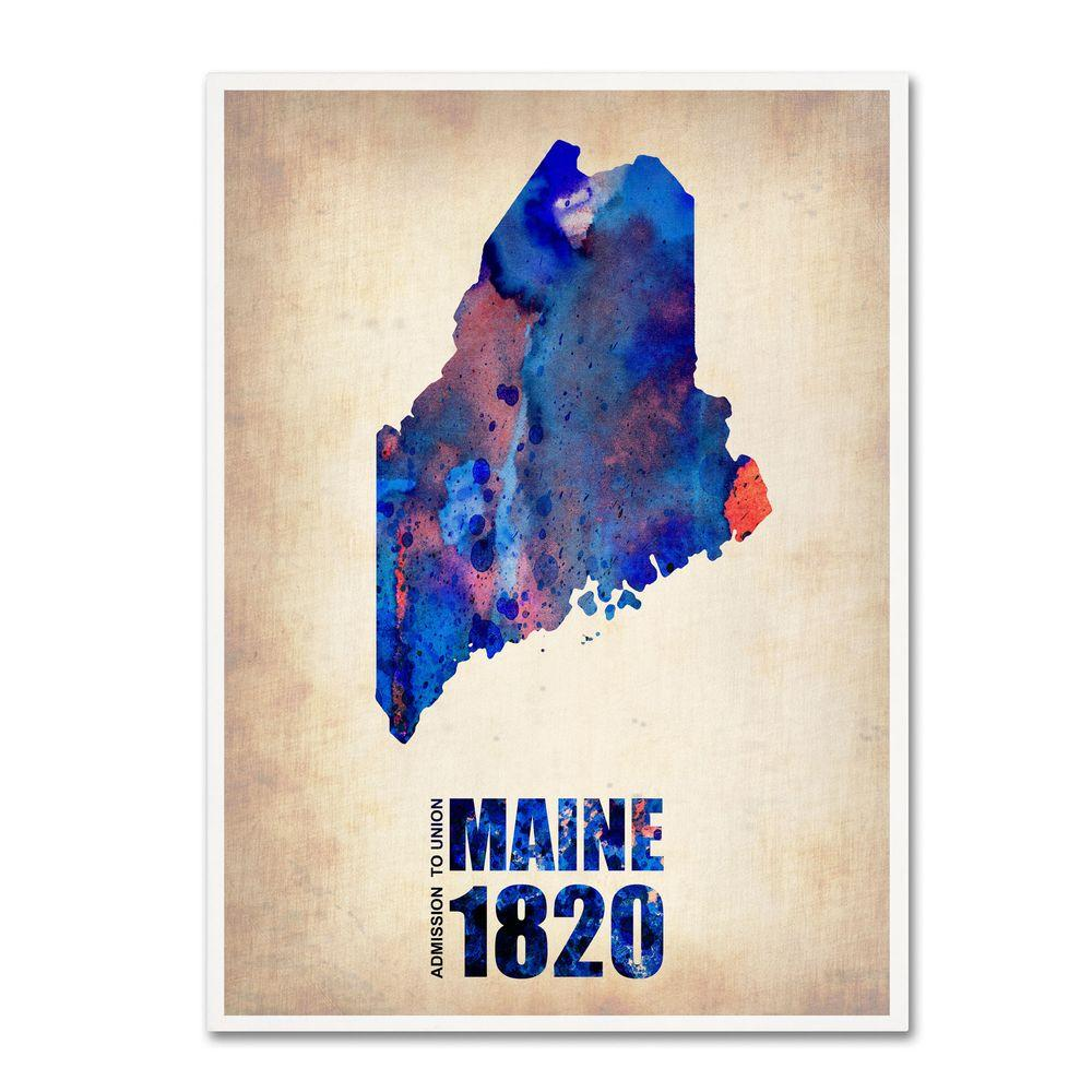 Trademark Fine Art 47 in. x 35 in. Maine Watercolor Map Canvas Art