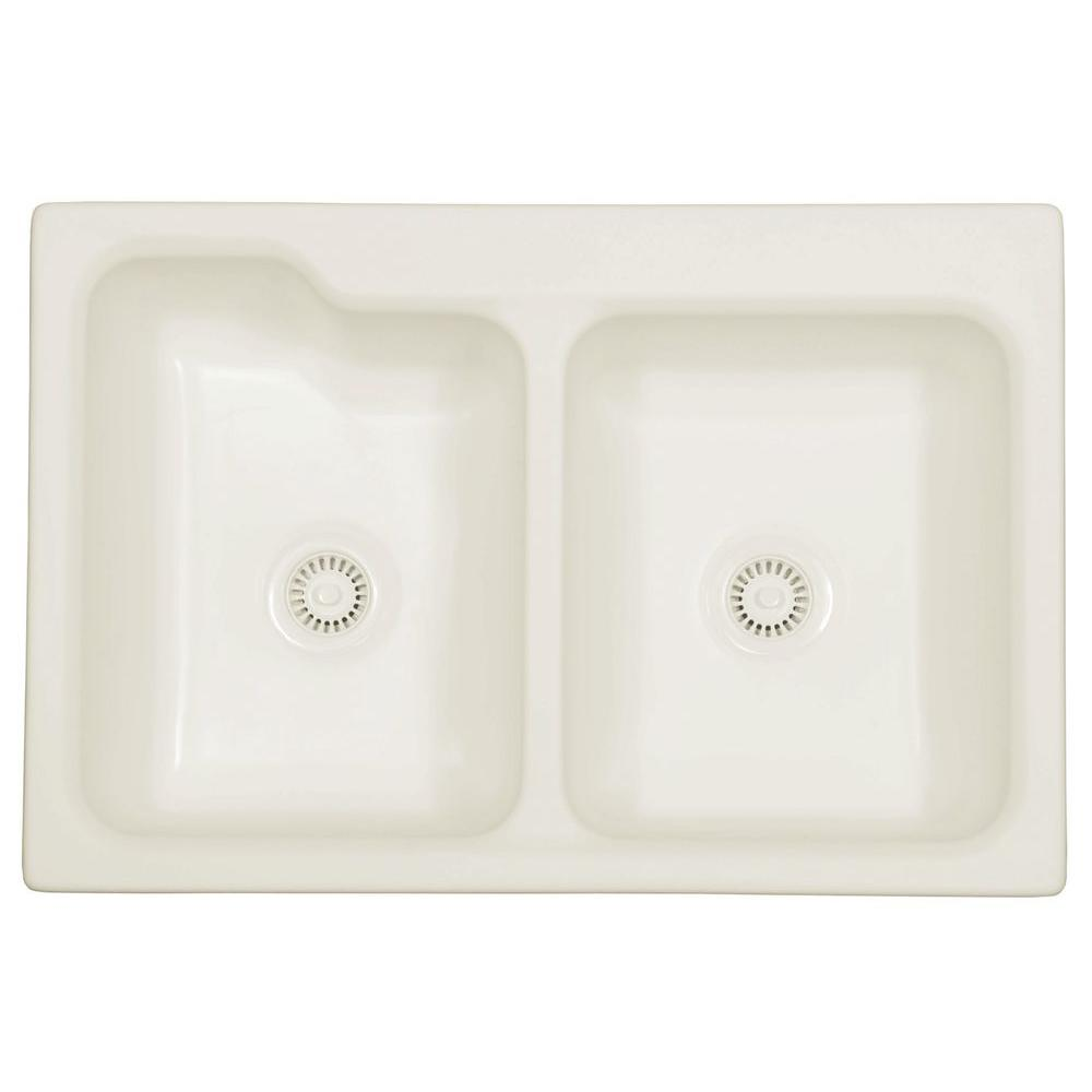 Karran Self-Rimming Acrylic 33x22x8.5 0-Hole 50/50 Double Basin Kitchen Sink in Bisque/Matte Finish