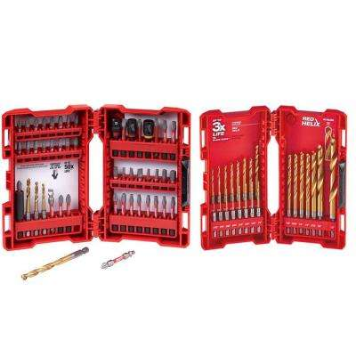 SHOCKWAVE Impact Duty Driver Steel Bit Set and SHOCKWAVE Impact Duty Titanium Drill Bit Set (73-Piece)