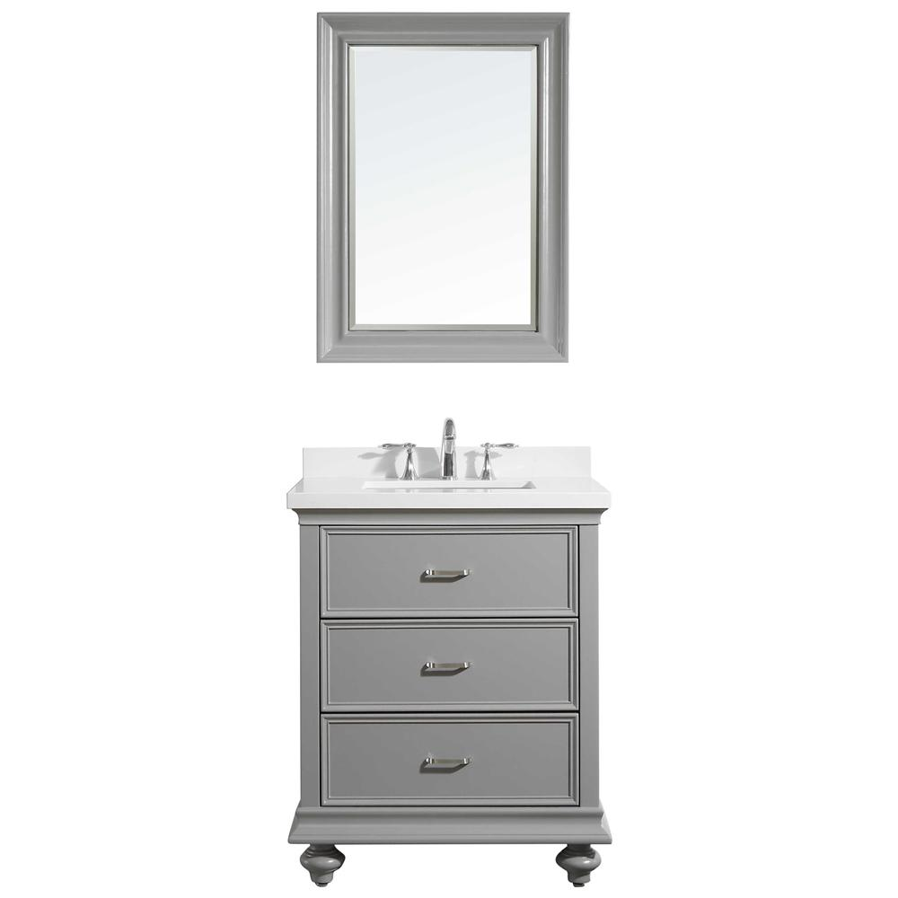 ROSWELL Venice 30 in. W x 22 in. D x 36 in. H Vanity in Grey with Quartz Vanity Top in White with White Basin and Mirror