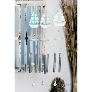 Light Blue, Blue and Dark Blue Wood and Aluminum Sailboat Wind Chimes (Set of 3) by