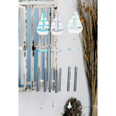 Light Blue, Blue and Dark Blue Wood and Aluminum Sailboat Wind Chimes (Set of 3)