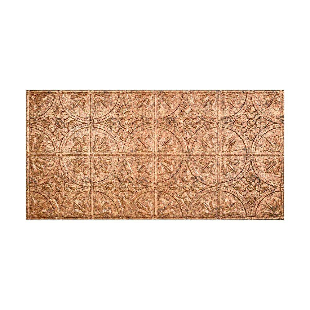Fasade Traditional 2 - 2 ft. x 4 ft. Glue-up Ceiling Tile in Cracked Copper