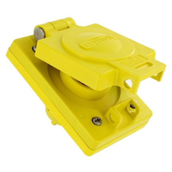 15 Amp 125-Volt Wetguard Straight Blade Grounding Single Outlet with Cover, Yellow