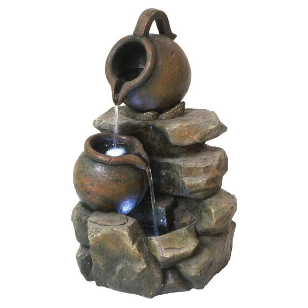 LaTaverna Cascading Urns Stone Bonded Resin Illuminated Garden Fountain