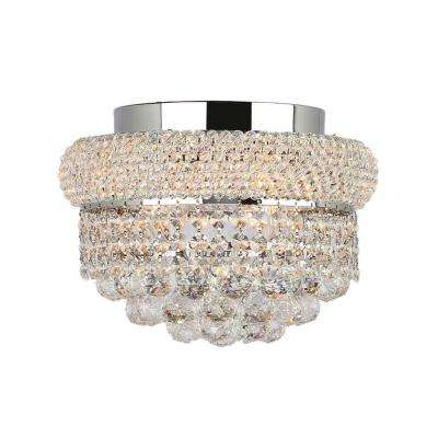 Empire Collection 4-Light Chrome and Clear Crystal Flush Mount