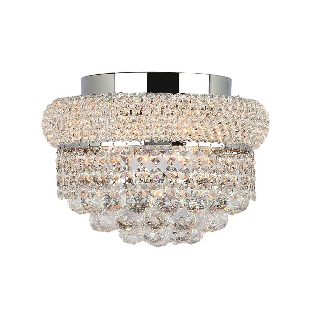 Worldwide Lighting Empire Collection 4-Light Chrome and Clear Crystal Flushmount