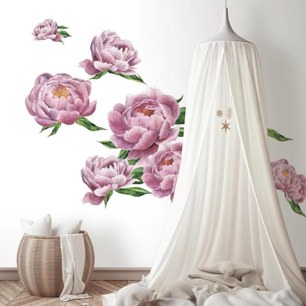 Pink, Green Large Peony Peel And Stick Giant Wall Decals