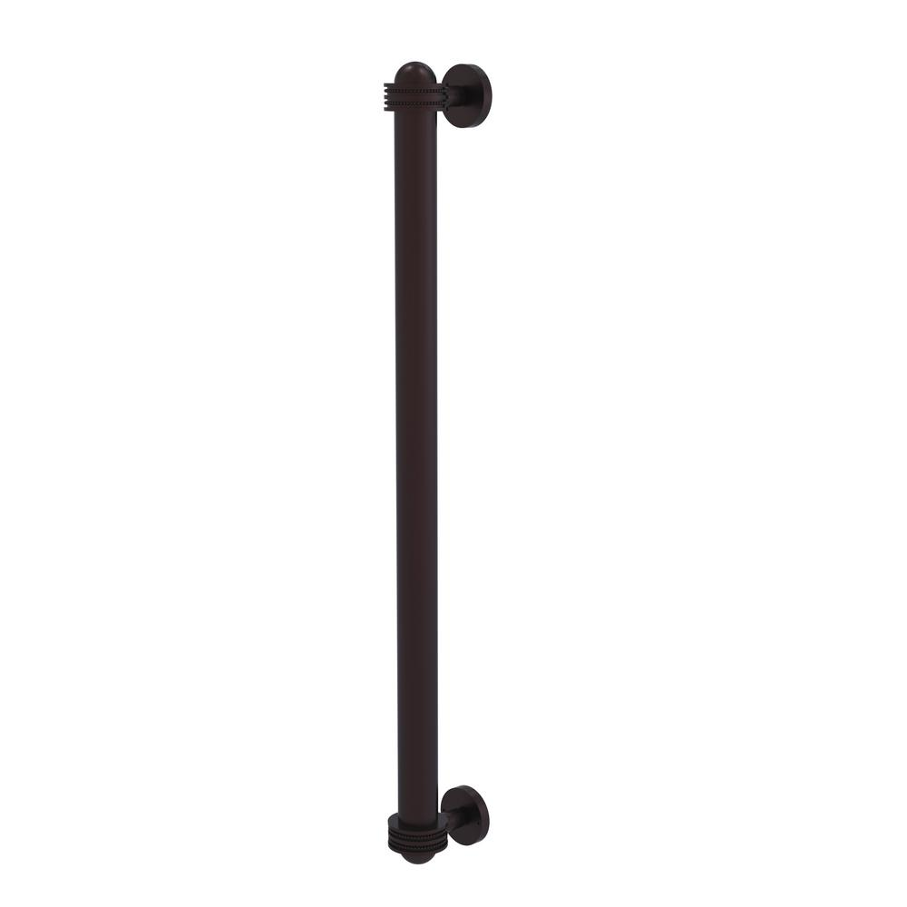 Allied Brass 18 in. Center-to-Center Refrigerator Pull with Dotted Aents in Antique Bronze Transform your kitchen with this elegant Refrigerator and Appliance Pull. This pull is designed for replacing the pulls or handles on your built-in refrigerator, freezer or any other built in appliance. Appliance pull is made of solid brass and provided with a lifetime finish to insure products will provide a lifetime of service.