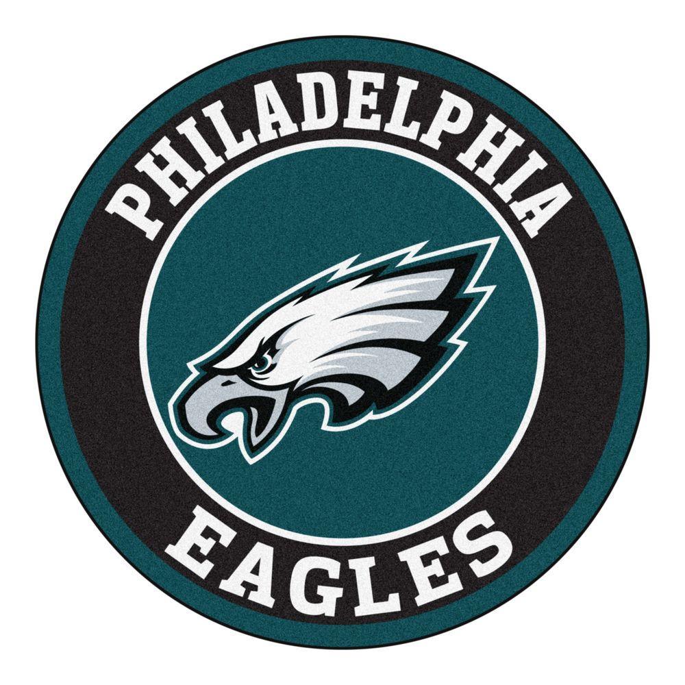 NFL Philadelphia Eagles Black 2 ft. x 2 ft. Round Area Rug