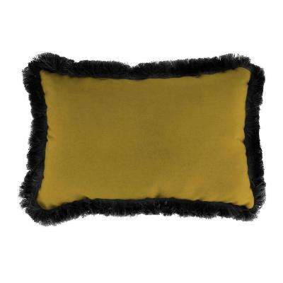Sunbrella 19 in. x 12 in. Canvas Maize Lumbar Outdoor Throw Pillow with Black Fringe