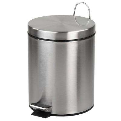 1.32 Gal. Stainless Steel Matte Trash Can with Silver