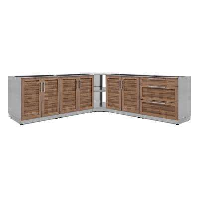 Natural Cherry 5-Piece 128 in. W x 36.5 in. H x 24 in. D Outdoor Kitchen Cabinet Set without Countertops