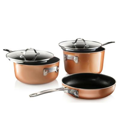 Cast-Texture Coating 5-Piece Aluminum Space Saving Stackmaster Cookware Set with Glass Lids
