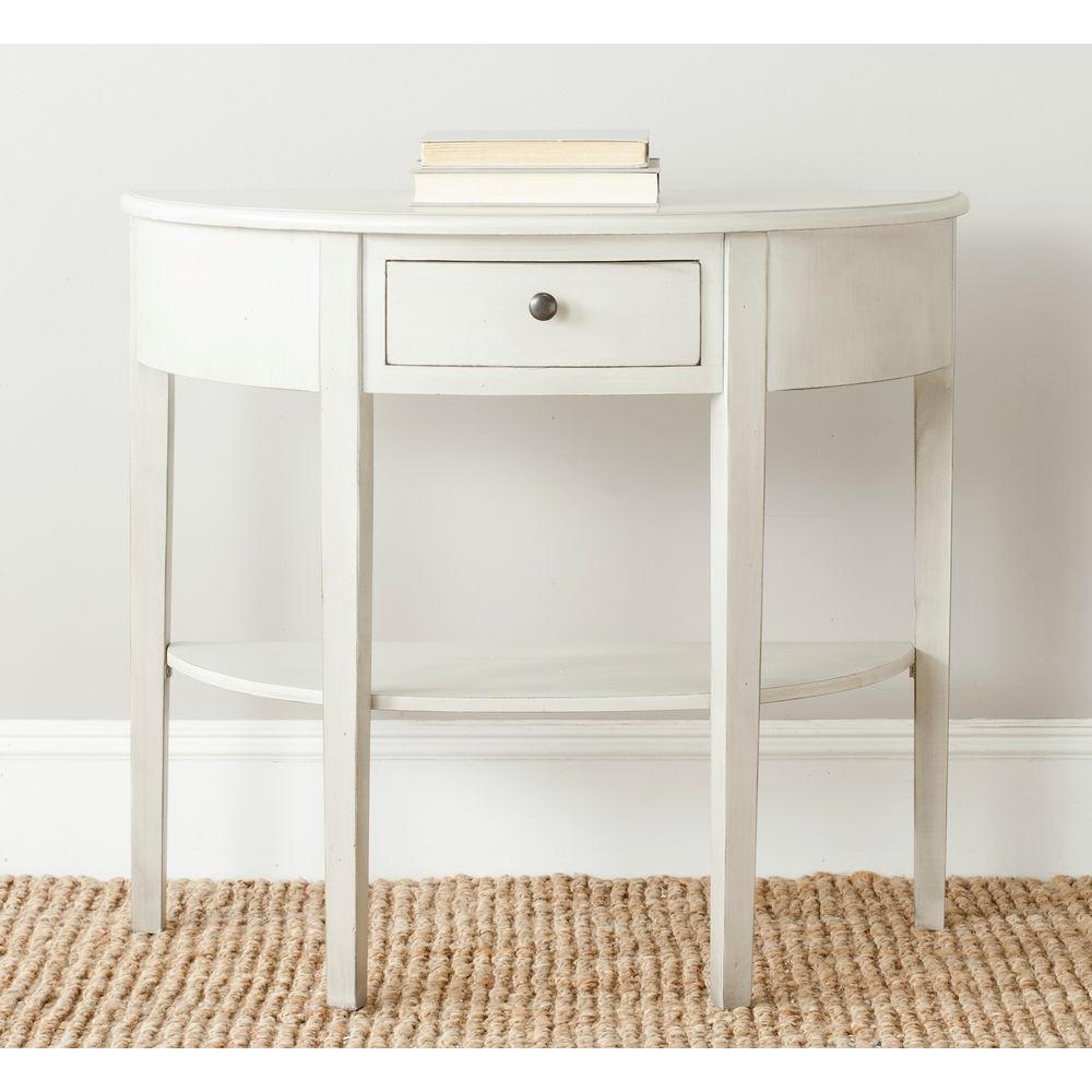 Abram White Birch Storage Console Table