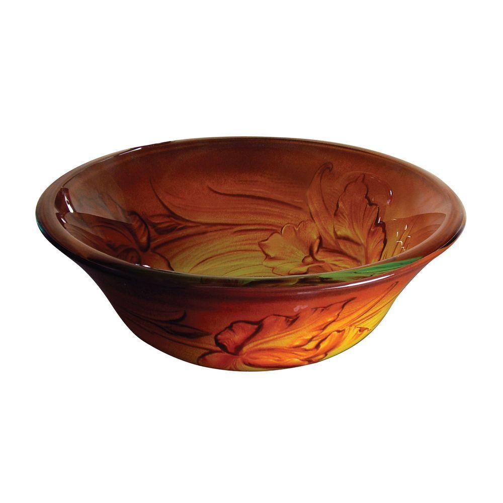 Yosemite Home Decor Fused Warm Glass Vessel Sink in Brunette Flower, Orange