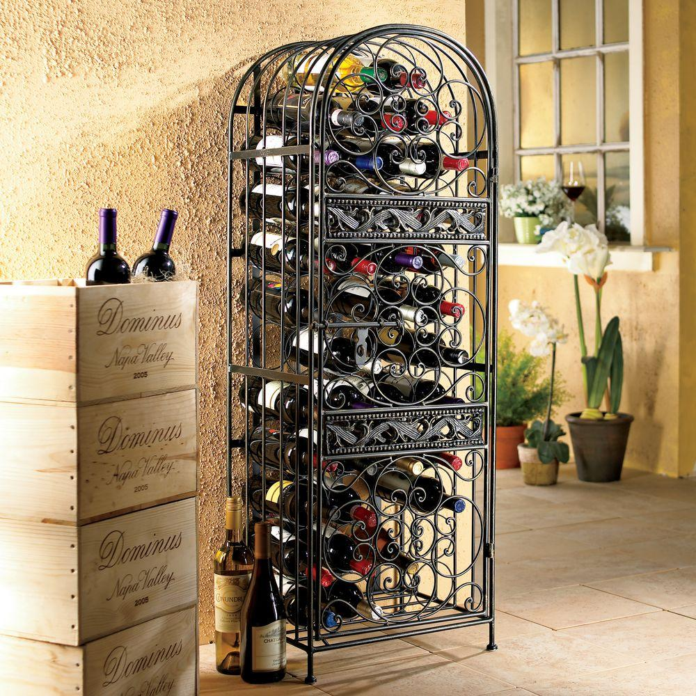 Wine Enthusiast 96 Bottle Antique Bronze Floor Wine Rack 634 96 01