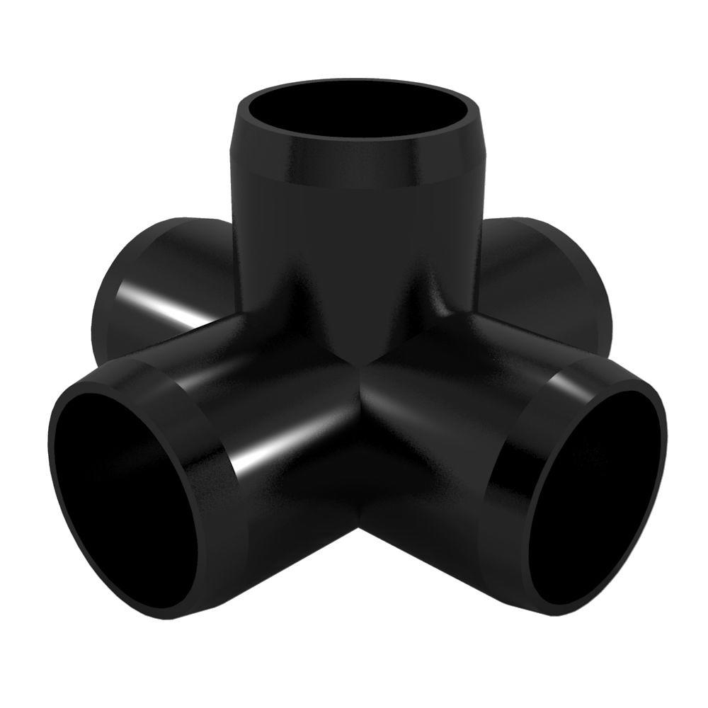 3/4 in. Furniture Grade PVC 5-Way Cross in Black (8-Pack)