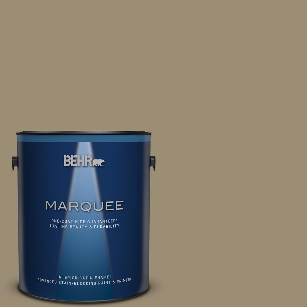 Behr Marquee 1 Gal 740d 5 Twig Basket Satin Enamel Interior Paint And Primer In One 745401 The Home Depot