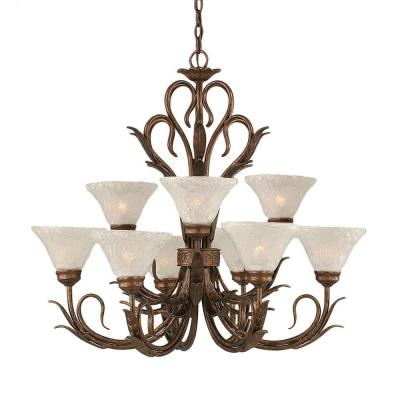 Concord Series 9-Light Bronze Chandelier with Italian Bubble Glass Shade