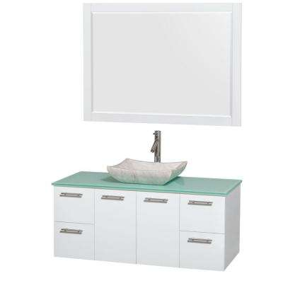 Amare 48 in. Vanity in Glossy White with Glass Vanity Top in Green, Marble Sink and 46 in. Mirror