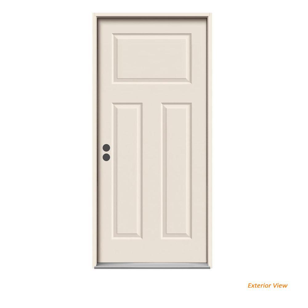 36 in. x 80 in. 3-Panel Craftsman Primed Right-Hand Inswing Steel Prehung Front Door w/Brickmould