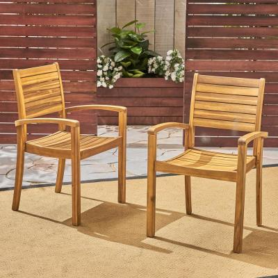 Miguel Teak Brown Wood Outdoor Dining Chairs (Set of 2)