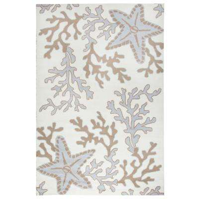 Azzura Hill Off White Coastal 9 ft. x 12 ft. Indoor/Outdoor Area Rug